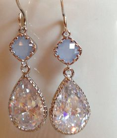 Bridal Periwinkle Blue & Cubic Zirconia CZ silver rhodium drop earrings (or Bridesmaid)  on Etsy, $42.00