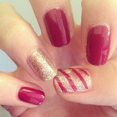 Christmas nails!! Jessica GELeration in Gorgeous Garter Belt and Golden Goddess.