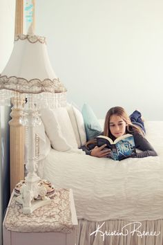 young girl reading a book in her bedroom, cute bedroom styling ideas, family photography, santa barbara photographer, kristin renee photographer http://portraits.kristinrenee.com