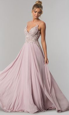 Shop long chiffon prom dresses at PromGirl. Embroidered-bodice v-neck formal evening dresses with floor-length a-line chiffon skirts. Mauve Prom Dress, Lavender Prom Dresses, Best Prom Dresses, Prom Gowns, Homecoming Dresses, Party Dresses, Matric Farewell Dresses, Matric Dance Dresses, Formal Evening Dresses