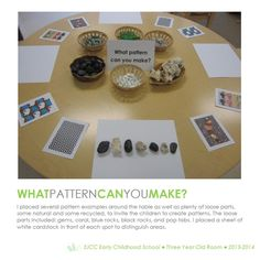 Three Year Old Classroom. Hundred Languages. Loose Parts Provocation. Three Year Old Classroom. Hundred Languages. Loose Parts Provocation. Kindergarten Activities, Teaching Math, Preschool Activities, Patterning Kindergarten, Reggio Inspired Classrooms, Reggio Classroom, Classroom Setup, Inquiry Based Learning, Early Learning