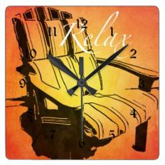 Relax Red Orange Adirondack Chair Summer Beach The Square Wall Clock