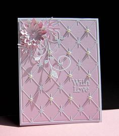 Honoring Peggy by Pink and white, all die cuts, sparkle grid, leaf flourish, layered die cut flower Pretty Cards, Love Cards, 3d Cards, Folded Cards, Pink Cards, Baby Cards, Embossed Cards, Beautiful Handmade Cards, Sympathy Cards