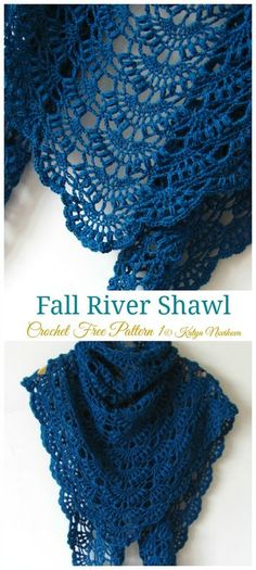 Fall River Shawl Crochet Free Pattern - Lace Shawl - Knitting crochet and amigurumi Fall River Schal häkeln kostenlose Muster – Lace Schal – yonca yurder – Join the world of pin Poncho Crochet, Crochet Shawls And Wraps, Crochet Scarves, Crochet Clothes, Lace Shawls, Knitting Scarves, Ravelry Crochet, Sewing Clothes, Knit Shawls