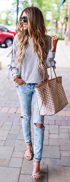 #summer #outfits Casual Knits Ripped Jeans