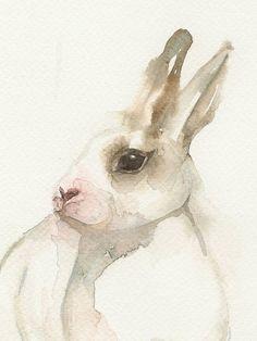 Little white rabbit animal art watercolor print by FrancinaMaria, $14.50