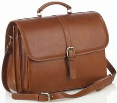 Briefcase with laptop computer case - Brown - In stock - Front View