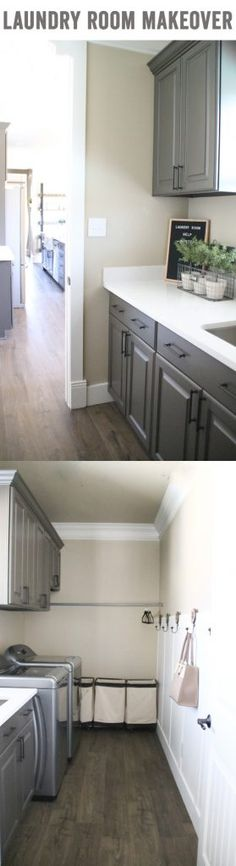 Laundry room makeover with 24-hour water resistant laminate flooring by QuickStep! This flooring looks like real wood and it's great for wet areas! I love what it's done for my new laundry room. Get more details at www.shanty-2-chic.com