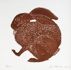 Hand pulled limited edition  linocut print of Hare
