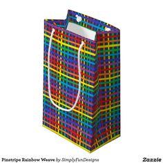 Pinstripe Rainbow Weave Small Gift Bag