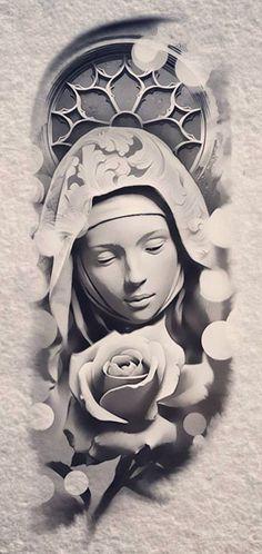 Religion Tattoo Sketches, Tattoo Drawings, Art Drawings, Religion Tattoos, Tattoo Mutter, Jesus Tattoo, Geniale Tattoos, Trash Polka, Tattoo Project