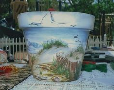 Hand Painted Flower Pots can be as simple or as elaborate as you wish. Here is a collection of some of the most beautiful hand painted pots around. Flower Pot Art, Clay Flower Pots, Flower Pot Crafts, Painted Clay Pots, Painted Flower Pots, Hand Painted, Clay Pot Projects, Clay Pot Crafts, Shell Crafts