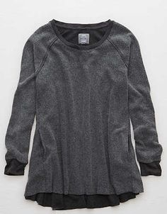 Aerie Swingy Pocket Sweatshirt, Charcoal Heather | Aerie for American Eagle