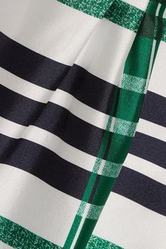 Oscar de la Renta - Plaid Silk And Cotton-blend Midi Dress - Emerald