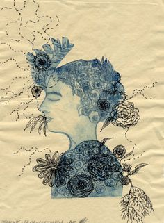 Mélancolie, etching and drawing by Valérie Belmokhtar