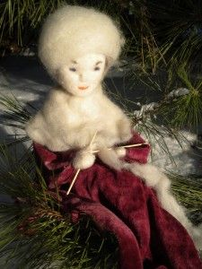 Here is Grandmother Winter who 'sits and knits with her sticks'…..knitting snow blankets to cover the earth and keep the sleeping bulbs warm.  She is a beloved character for children, because she is kind and full of warm heart, even while she represents the cold of winter.  She is also meaningful to experience in her activity, in  her gesture of knitting with great care and interest, because it is a 'doing' activity.  Children love and need to witness real practical life actions.