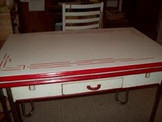 Red and White Enamel Table Kitschy Kitchens Pinterest White