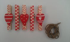 Magnetic pegs made with love heart tape and heart by loulalacrafts, $7.50