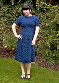 1940s Dark Royal Blue Lace Covered Cocktail Dress £60 from Upstaged Vintage