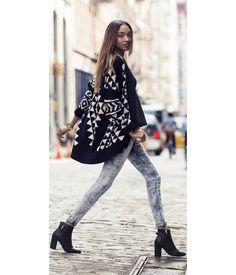 Aztec Sweater Coat + Acid Wash Jean Leggings. #expressjeans
