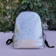 Silver to black reversible Sequin Backpack for girls and boys 61270ce30a5c