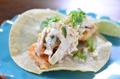 Crispy Fish Tacos with Spicy Slaw
