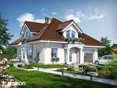 Dom w tymianku 6 Beautiful House Plans, Dream House Plans, House Outside Design, House Property, Bungalow House Design, Cute House, House Paint Exterior, Craftsman House Plans, Architect House