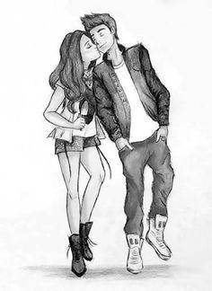 Resultado de imagem para tumblr preto e branco desenhos casal