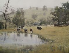 """""""Cows at pond"""" by Frank Eber, plein air watercolor painter"""