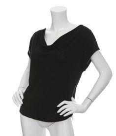 SPLENDID Jersey Cowl Neck T-Shirt Black XS NEW $54