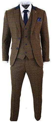 Mens-Brown-Herringbone-Blue-Check-Tweed-Vintage-3-Piece-Tailored-Fit-Suit-Smart