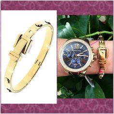 Authentic Michael Kors Gold Studded Bangle % AUTHENTIC✨ Gorgeous yellow gold tone studded bangle from Michael Kors! Excellent condition  Watch NOT included! Box included! NO TRADE  PRICE IS FIRM! Michael Kors Jewelry Bracelets