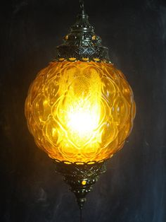 Large Vintage 60's Hanging Swag Lamp-Round-Textured Amber Colored Glass-Diffuser-Gold Toned Metal
