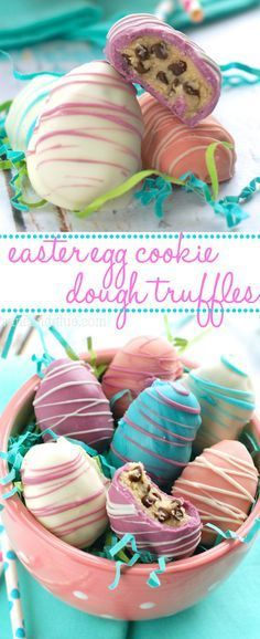 Easter egg cookie dough truffles beautiful on the outside and irresistibly yummy on the inside! 25 easy easter dinner recipes that don t stress you out Holiday Desserts, Holiday Baking, Holiday Treats, Holiday Recipes, Spring Desserts, Easter Candy, Easter Treats, Easter Eggs, Easter Food