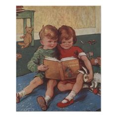 Illustration of Brother and Sister Reading Print