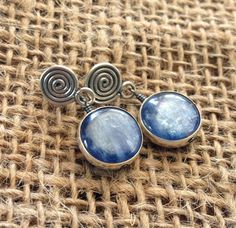 Round Dark Blue Kyanite Stone and Bali Aritsan by BijouxJewellry