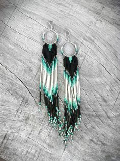 XX Long Fringe Beaded Earrings, Mint, Teal, Black Shoulder Dusters, Long Seed Bead Earrings, Native American Inspired, Tribal, Southwestern