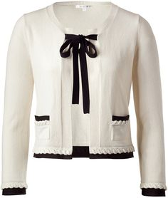 Cream Cashmere Cardigan with Contrast Trim - Lyst