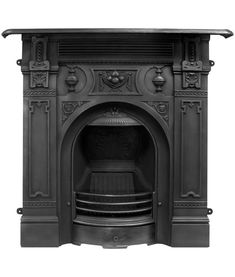 The Victorian fireplace dating from around 1890 features an ornate decorative arch and is finished in traditional black or polished finish.