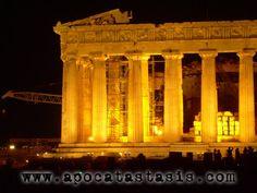 Yellow, Parthenon, Night, Athens