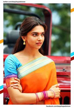#deepika orange saree