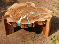 Walnut round live edge coffee table with glowing resin and w .- Walnut round live edge coffee table with glowing resin and wooden legs Walnut round coffee table direct edge with shiny resin and Walnut Coffee Table, Walnut Table, Walnut Wood, Coffee Tables, Resin Furniture, Living Furniture, Custom Furniture, Live Edge Furniture, Furniture Design