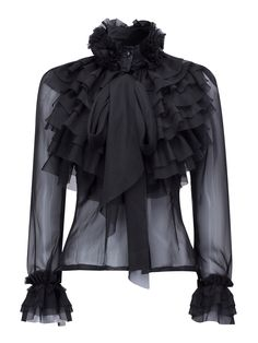 Black High Neck Bow Tie Front Layered Ruffle Sheer Shirt from Craven. Saved to Blouse (Ruffled). Bow Tie Shirt, Bow Shirts, Ruffle Shirt, High Neck Shirts, High Neck Blouse, Sheer Shirt, Sheer Blouse, Bow Blouse, Ruffle Neck Blouse