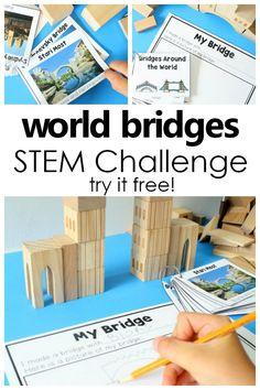 Bridge Building STEM Activities - Fantastic Fun & Learning Steam Activities, Science Activities, Activities For Kids, Montessori Activities, Preschool At Home, Preschool Science, Teaching Science, Teaching Kids, Block Center Preschool
