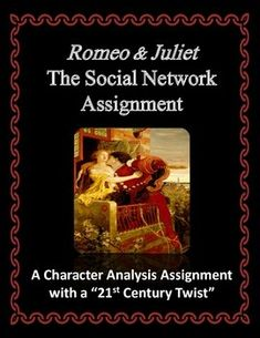 """There have been many creative ways to teach """"Romeo & Juliet"""" over the years including mock newspapers, mock trials, and the like. This particular project puts a 21st century spin on those assignments and allows students to express themselves in a familiar medium.  Students may role-play as one of six characters in Shakespeare's play – Romeo, Juliet, Friar Laurence, The Nurse, Mercutio, and/or Lady Capulet – and write """"status updates"""" as if they were the character..."""
