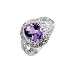 1.75 Carat Amethyst Gemstone Engagement Ring on Silver
