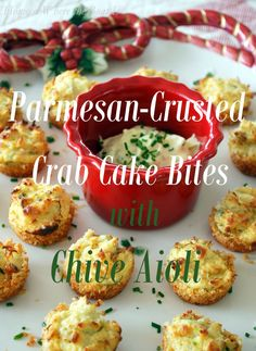 Parmesan-Crusted Crab Cake Bites with Chive Aioli | homeiswheretheboatis.net #appetizer #recipe #muffintin