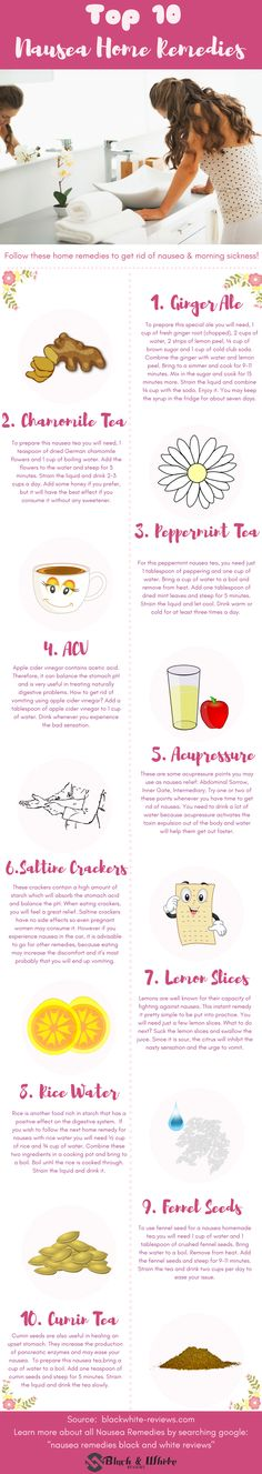 How to get rid of nausea! Find a fast relief for nausea at home using next top home remedies. Find out why, ginger, chamomile, peppermint, apple cider vinegar, accupressure, saltine crackers, lemon, rice water,fennel seeds or cumin is good for nausea. Stop it right now wih only DIY ( do it yourself) home remedies.