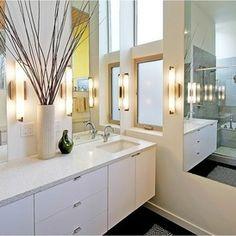 Beautiful Bathrooms, Houzz, Double Vanity, Master Bath, Townhouse, Bathroom Lighting, Sconces, Interior Design, Mirror