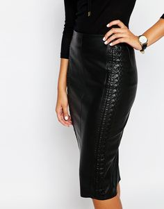 $77 Image 3 of River Island Whipstitch Faux Leather Pencil Skirt